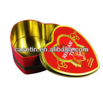 factory custom metal tinplate heart shape candy chocolate gift packaging tin box