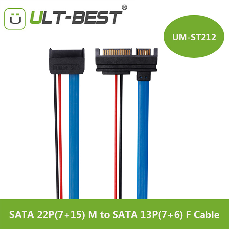 SATA Cable Serial ATA 22Pin 7+15 Male to Slimline SATA 13Pin 7+6 Female Connector Conterver 30CM