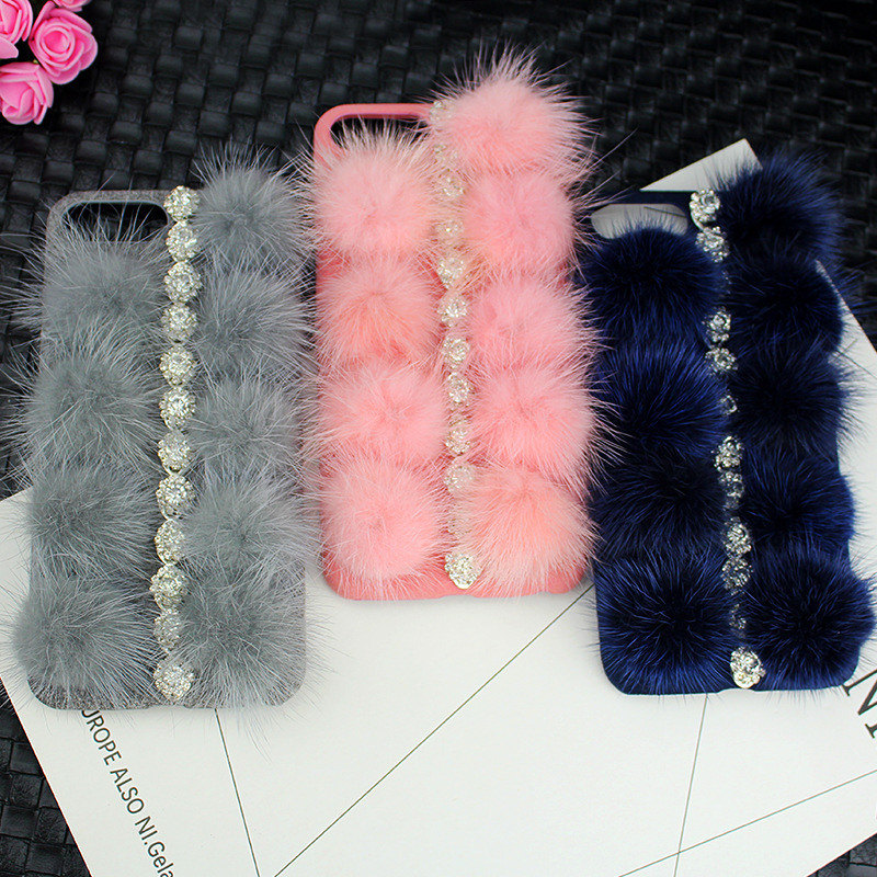 Luxury Diamond Soft Mink Fur Back Phone Case for iPhone X/8/7/6s Plus Cell Phone Accessories