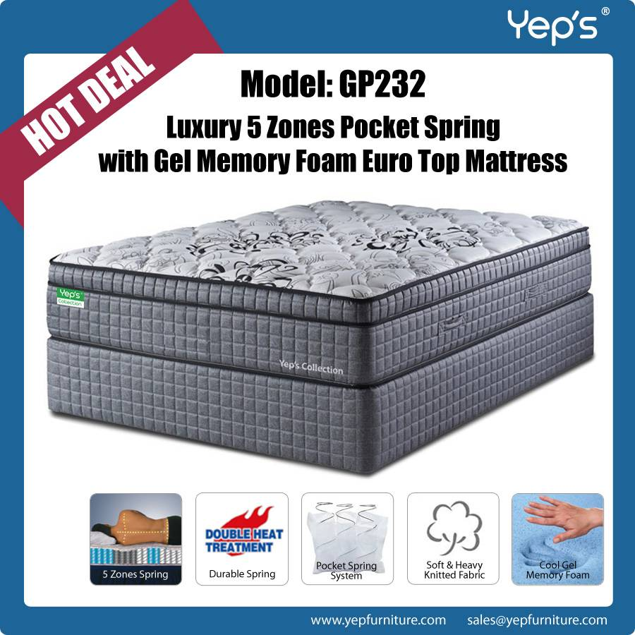Luxury 5 Zones Pocket Spring with Cool Gel Memory Foam Euro Top Mattress