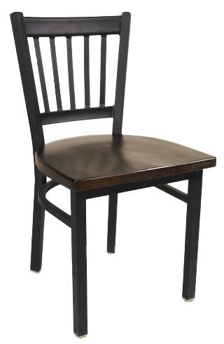The elongated vertical back metal chair