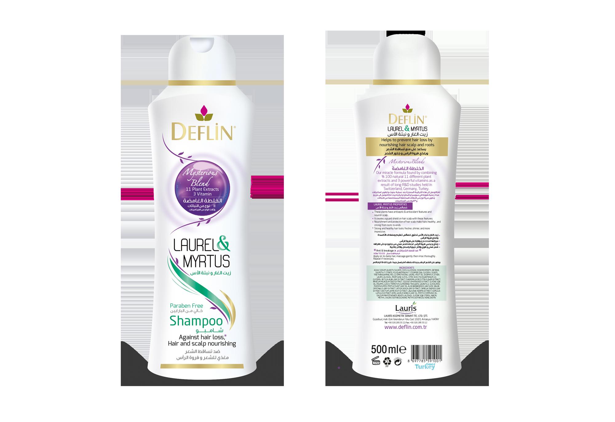 Deflin herbal shampoo LAUREL & MYRTUS COMMUNIS