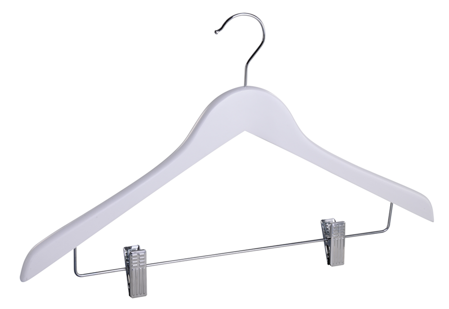 White wooden suit hanger with clips custiomized wooden shirt hanger