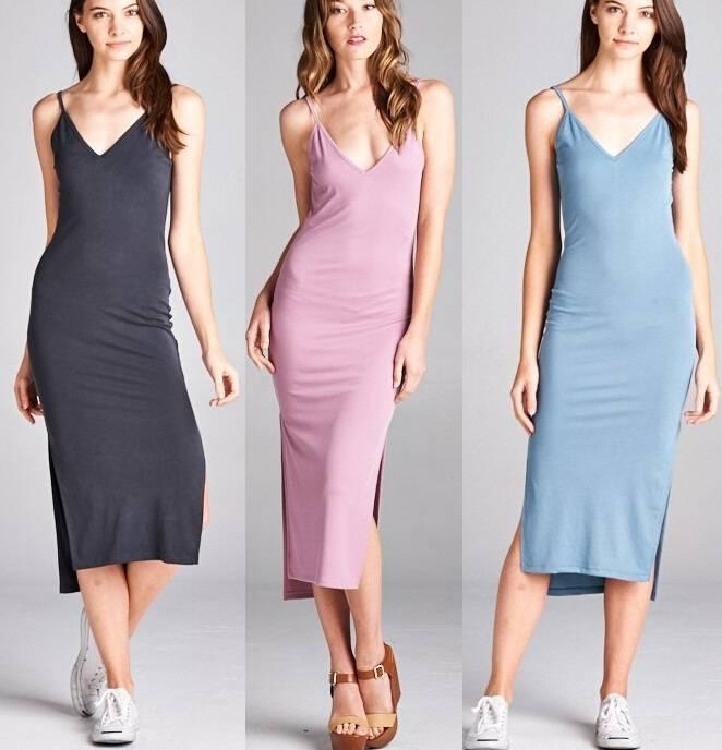 spaghetti straps scoop V-neck midi dress, ladies smart casual dress, elegant women casual dress
