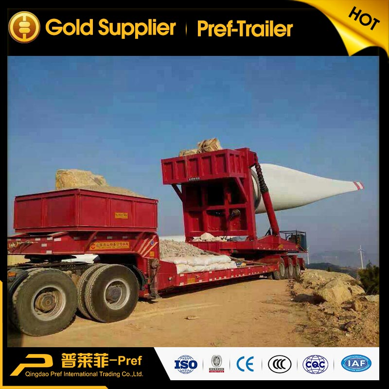 PREF 3 axles windmill blade transport low bed trailers/wind turbine blade carrier trailer for sale
