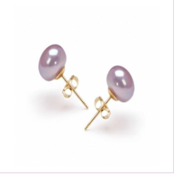 7-8mm Lavender Flat Pearls Earring with 14K Yellow Gold Stud