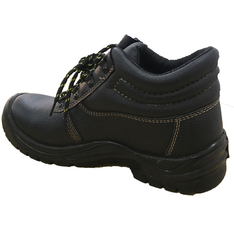 Middle Cut Black Genuine Leather Anti-slip Safety Shoes