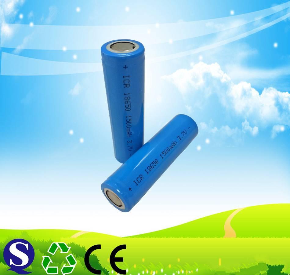 18650 3.7v 1500mah rechargeable lithium ion battery for torch flashlight