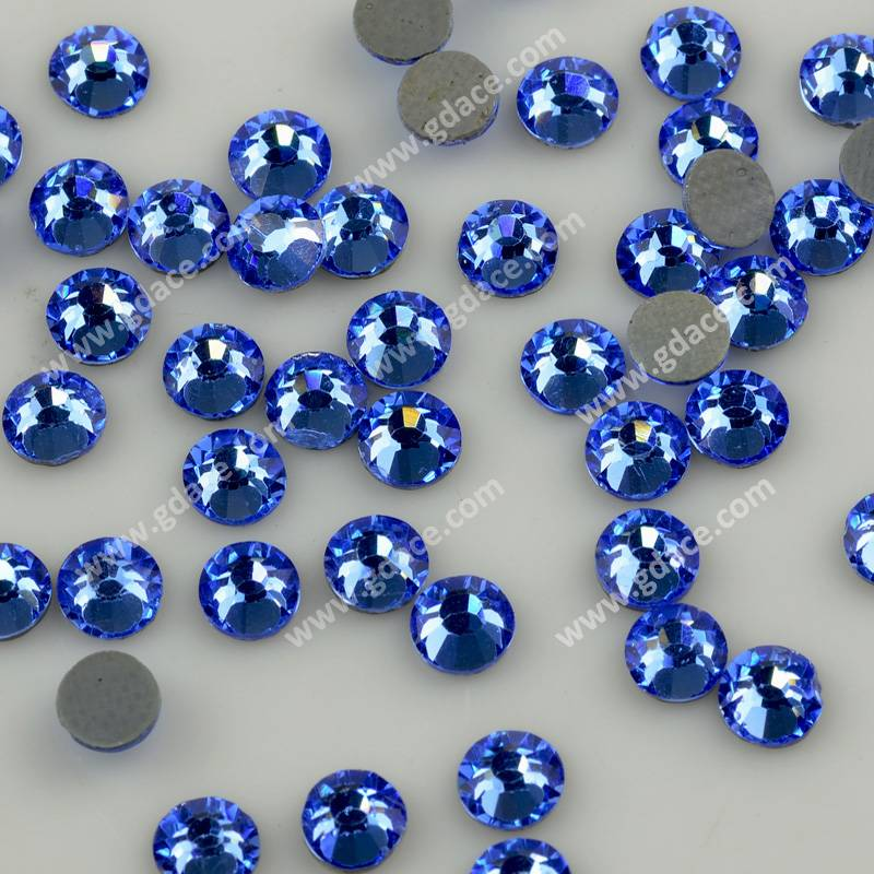 Hot selling Imitated Diamond flatback stones, LT sapphire color cristal hot-fix for garment