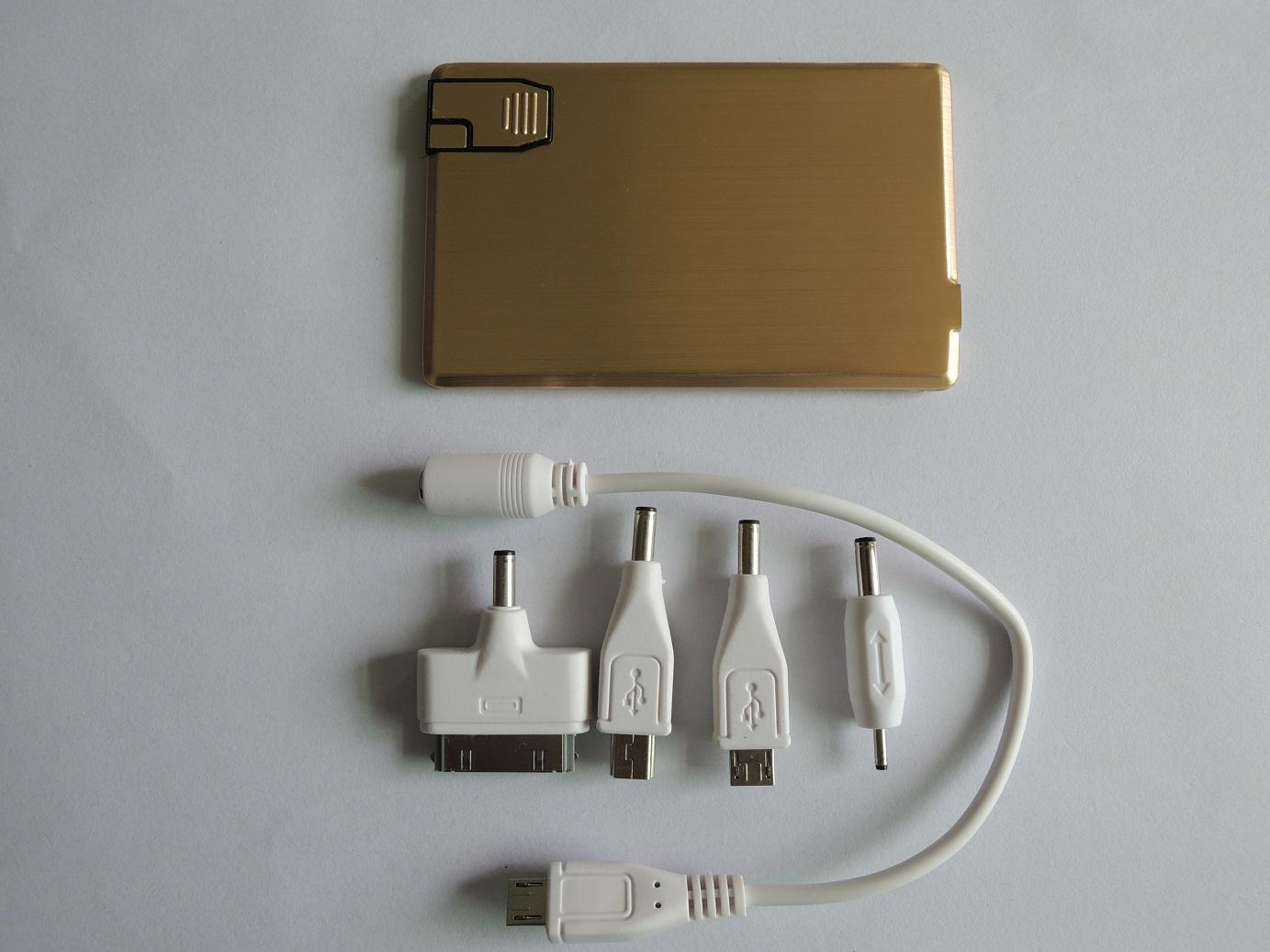 Metal style Original 2200mAh ultra slim power bank with memory Aluminium credit card power bank wit