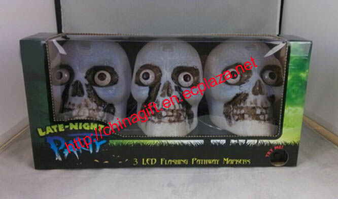 3 LED Flashing Pathway Monster Skull Heads