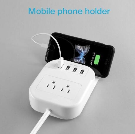 2Outlet desktop power strip with 4 USB charging ports