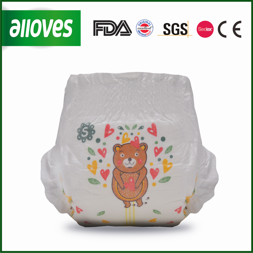 Alloves ultra thin soft baby pull up cute bear printed baby disposable diapers
