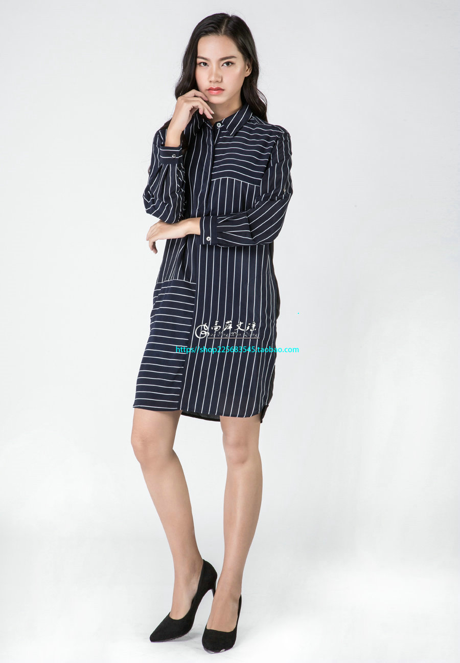 Gaoping  Wenqiong G1627 stripe women silk long sleeve dress