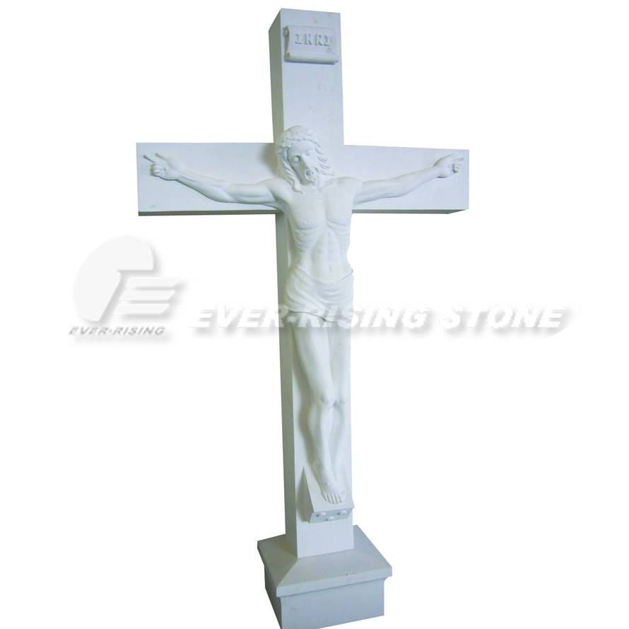 EMS-004 Marble and Granite Crucifix Statue, Limestone Carvings