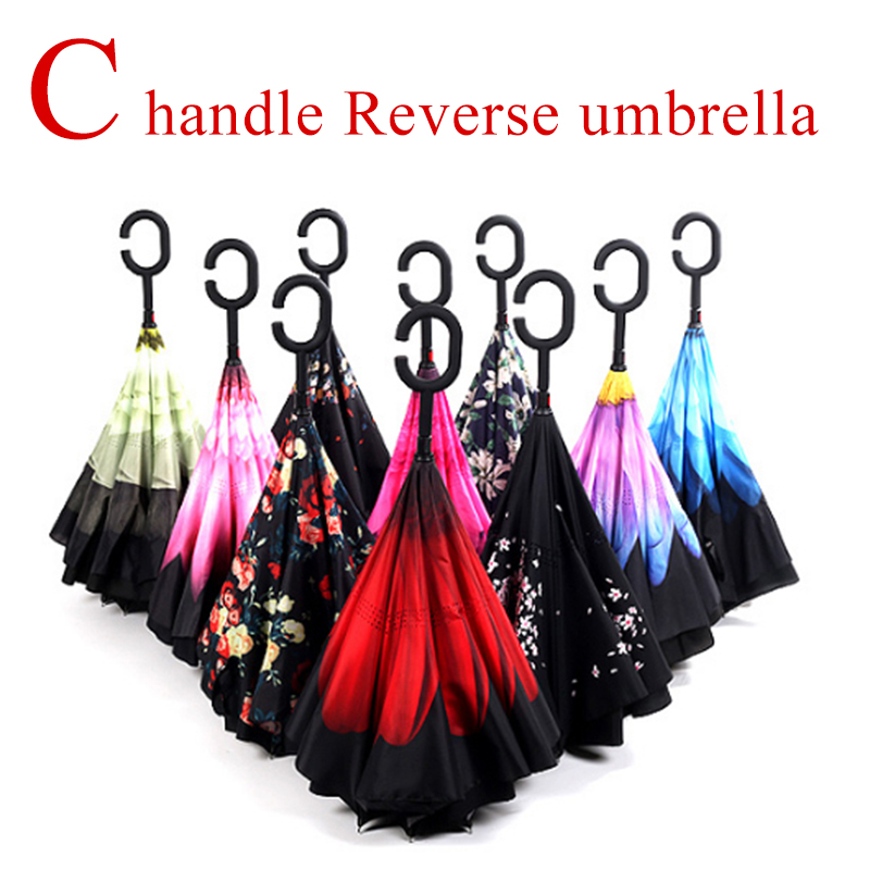 RST brand new product hot sale C handle inverted double layer Reverse Umbrella