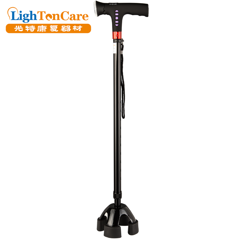 Aluminum four legs walking stick with radio