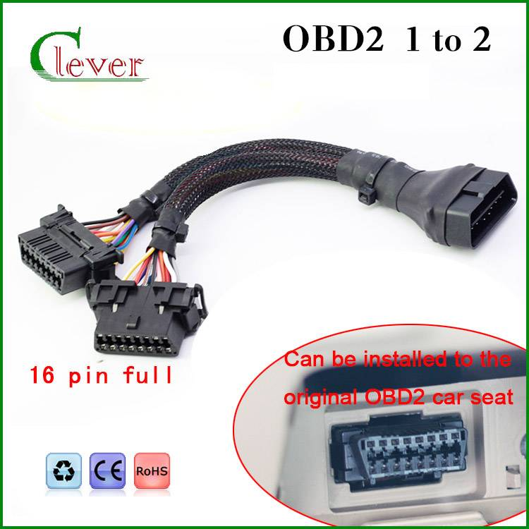 high-quality 16pin j1962 obd2 cable male to double famal cable Hot selling