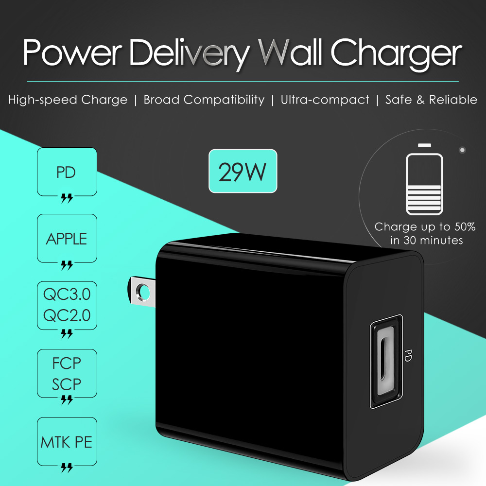 PD Charger 29W Power Adapter USB Charger Mobile Accessory Wall Charger Single Port