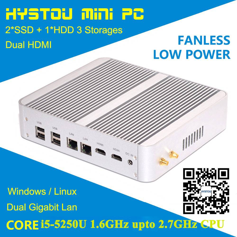 i5 mini pc Intel core 4258u HD5100 graphics 3M cache 2.4ghz upto 2.9 ghz support ram ssd and hdd dua
