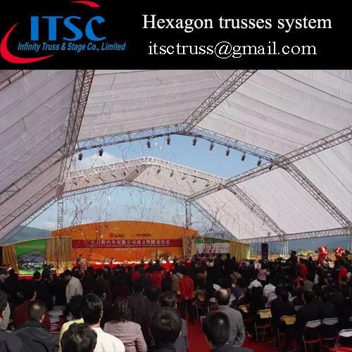Lighting Truss System Roof Structure Aluminum Hexagonal Truss