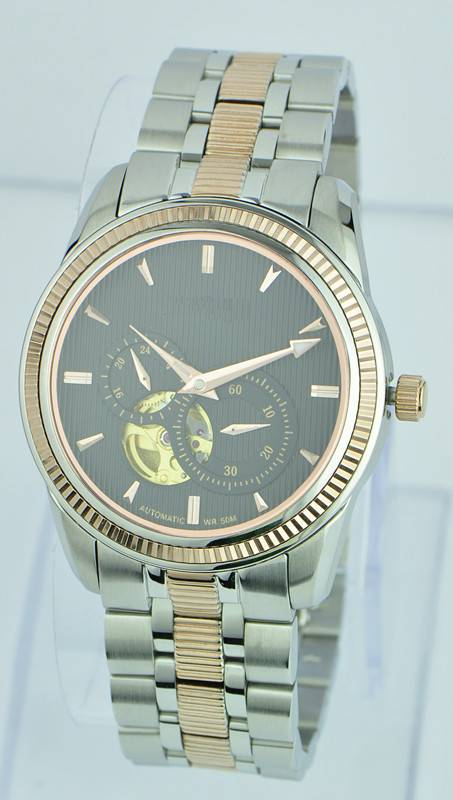 China wholesale stainless steel watch, rose gold plated wrist watch, automatic mechanical chronograp