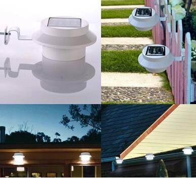 LED Solar Light Wall Lamp Waterproof Garden Light Outdoor Landscape Lawn Lamp 3 LED Fence Gutter Sol