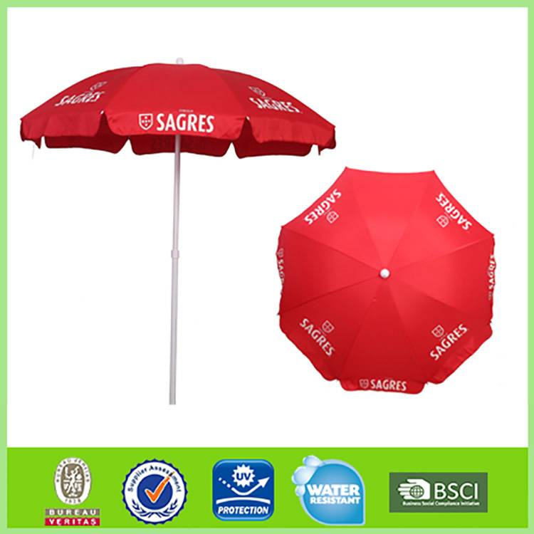 China 6 Ft. Classic Oxford Advertising branded red promotional beach umbrella