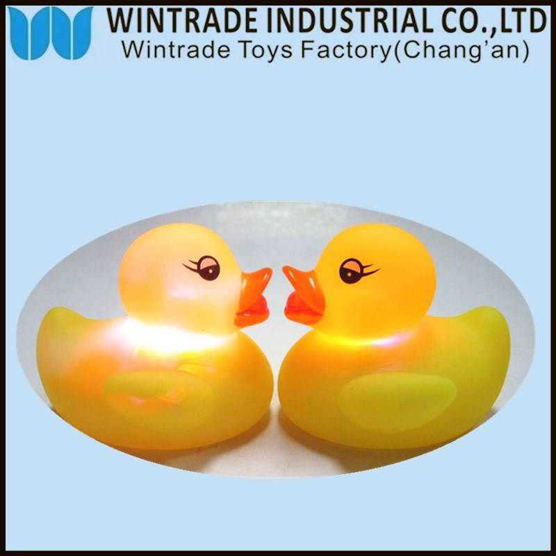 LED rubber bath duck toy floating