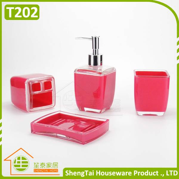 cheap price high quality 4 pcs plastic hotel bath set