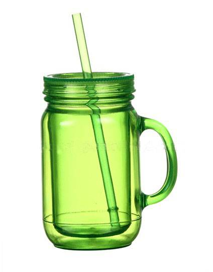 16OZ/20OZ/24OZ Double wall mason jar with handle / single wall mason jar