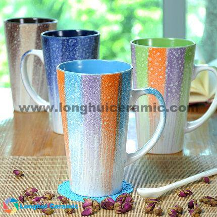 460cc Large glaze brushed ceramic couple coffee mug with spoon