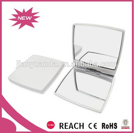 girls portable square shaped plastic double side makeup mirror