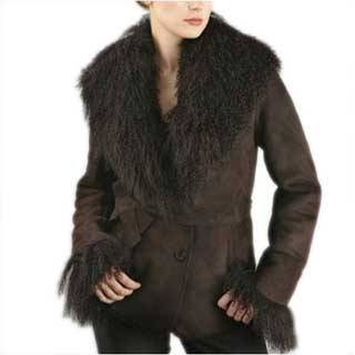 Women's Belted Lamb Shearling Coat with Fur Trim
