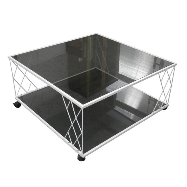 2tiers living room removable metal glass coffee table