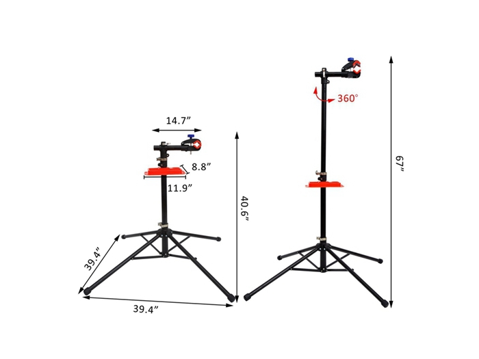 41'' - 67'' Adjustable Bike Repair Stand with Telescopic ArmTool Shelf