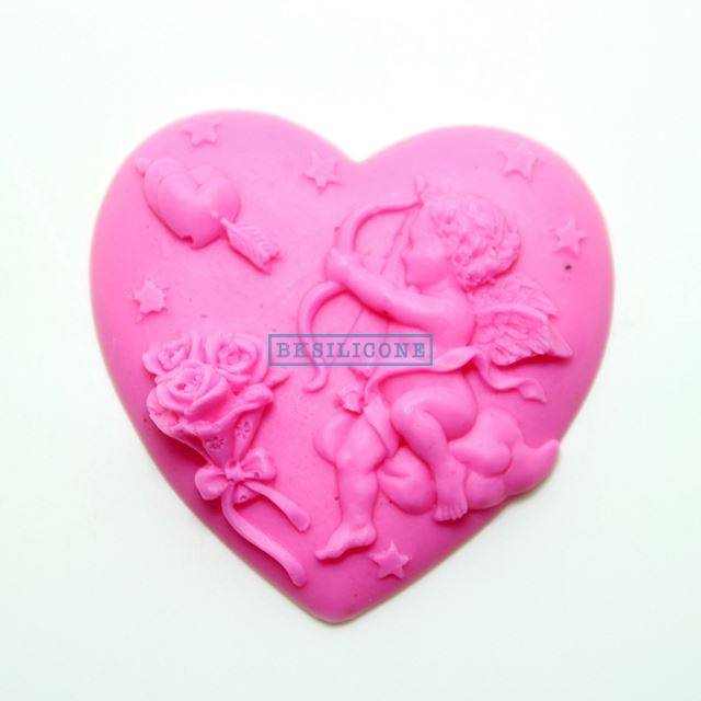 Real Silicone Soap Moulds Heart To Cupid Chocolate Molds Cake Mold  AB025