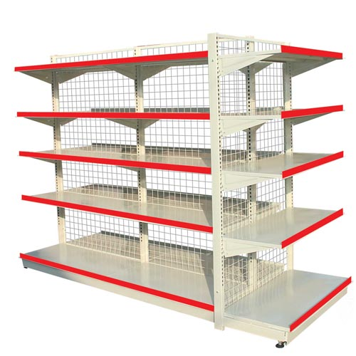 Supermarket shelves unit with wire mesh back