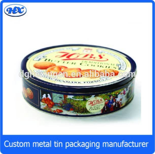 Round metal fancy butter cookie packaging tin box