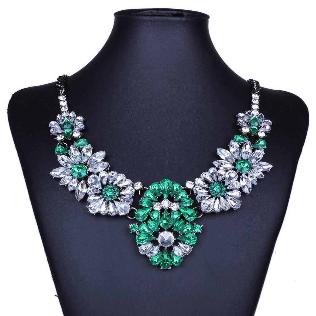 Vintage Gemstone Flower Statement Necklace For Women