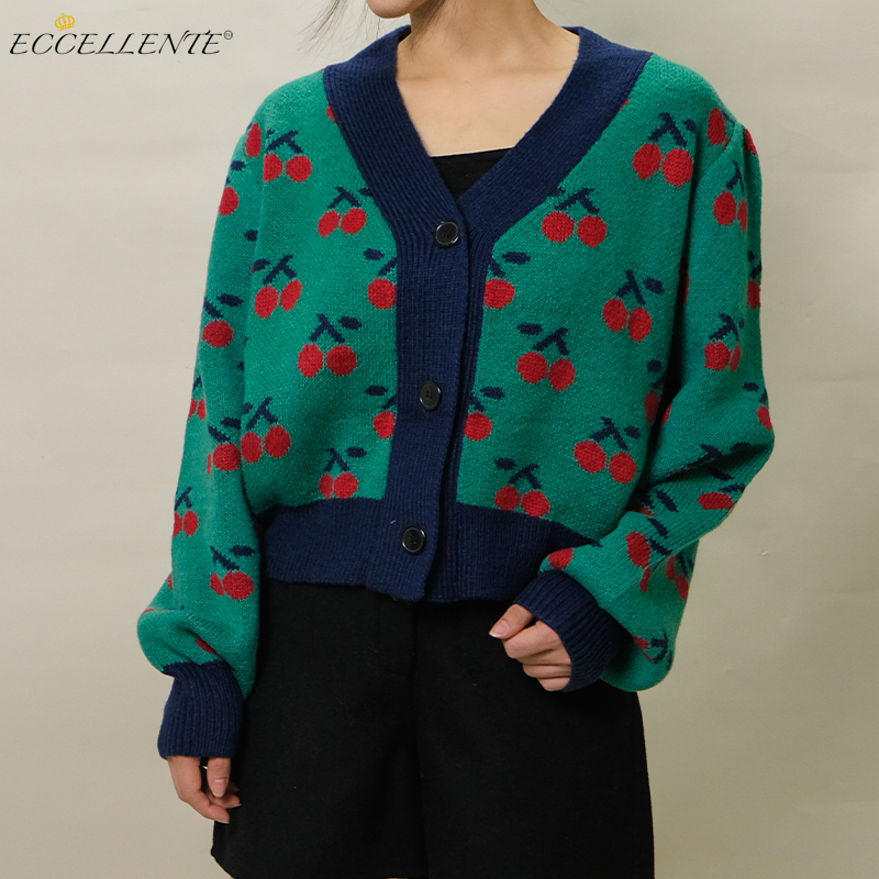 2021ss Cherry Jacquard Cardigan for Vintage-Inspired Fashion New Women's Loose-Fitting Cardigan Top