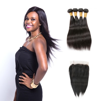 [8A]4 Bundles Brazilian Straight Hair Weave With Lace Frontal