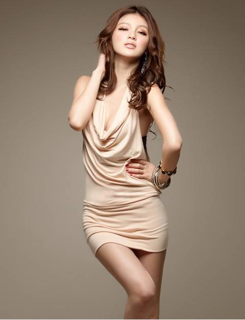Charming Spangle Backless Slimming Halter Dress