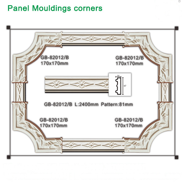 Polyurethane Interior decorative carved angular elements