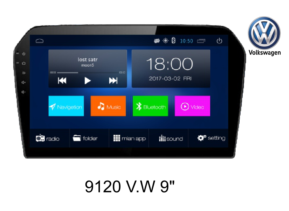 9'' VW car GPS navigation,android system, 2+32GB/HD/BT/FM/AM/TV