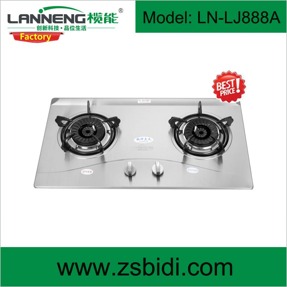 Table top stainless steel gas stove with single burner for LPG, NG or biogas