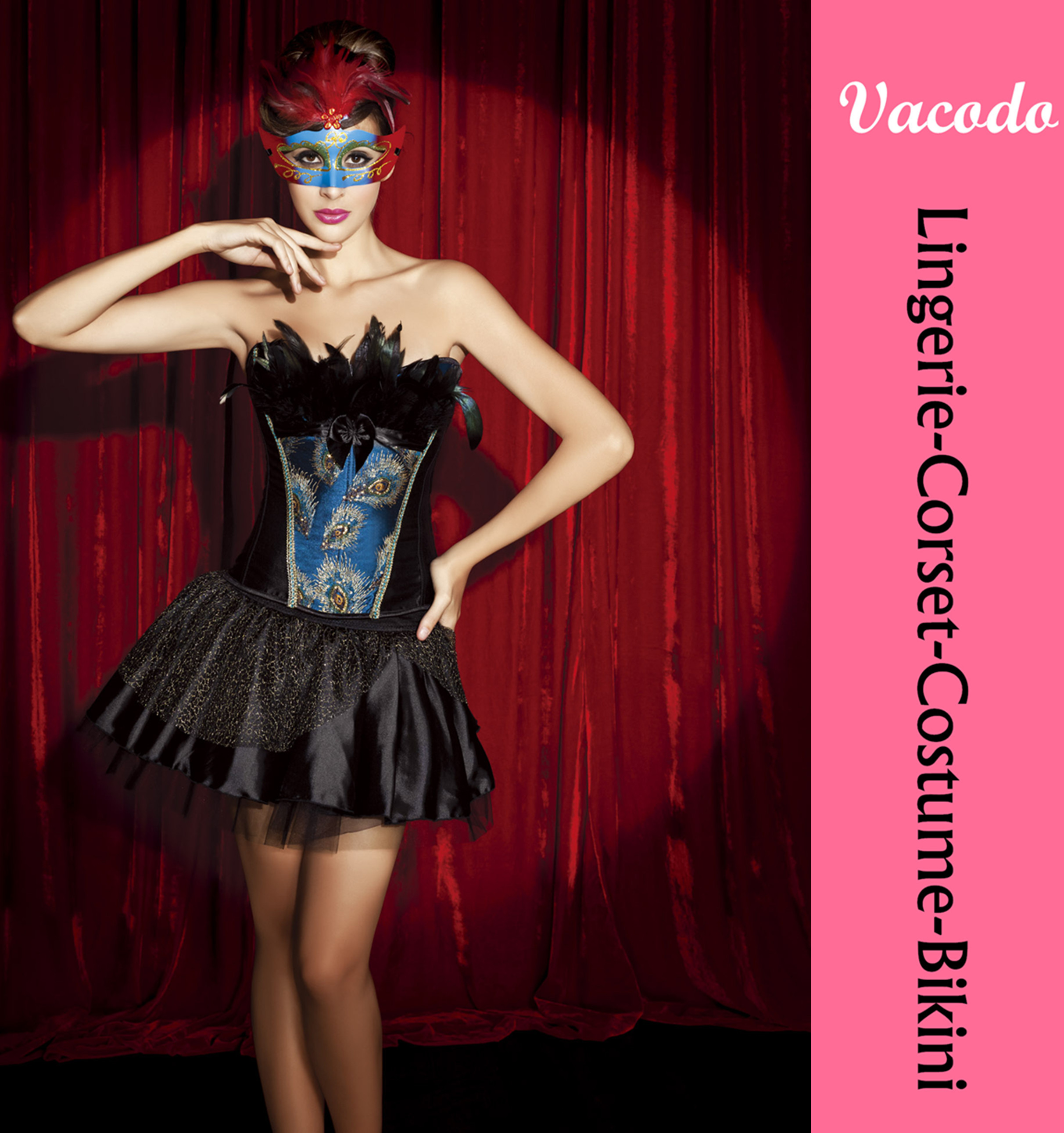 Vacodo satin feather adult women sexy party costume