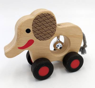 Wooden Baby Bell Roller-elephant