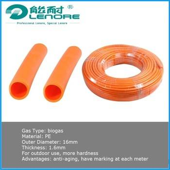 Aging-proof half-hard biogas pipe with unit length mark