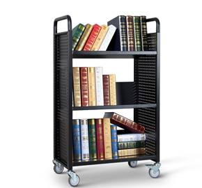 Single-Sided library book cart with 3 shelves RCA-3S-LIB11